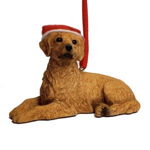 Sandicast Golden Retriever Ornament with Santa Hat